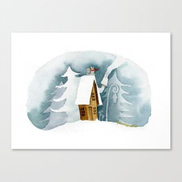 Cat on the Snowy Roof Canvas Print