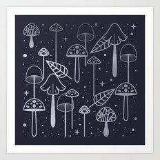 Silver Mushrooms Art Print