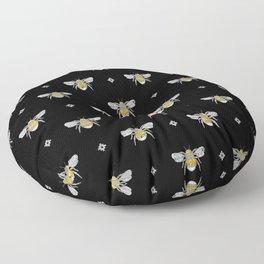 Bumblebee Stamp on Black Floor Pillow