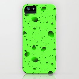 Large green drops and petals on a light background in nacre. iPhone Case