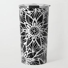 Modern Elegant Black White Tangle Flower Drawing Travel Mug