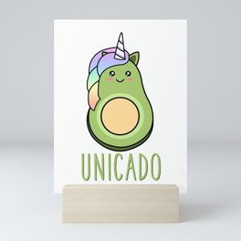 Cute Funny Avocado Unicorn Unicado Magical Rainbow Kawaii Mini Art Print