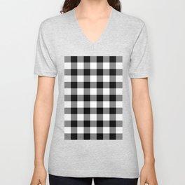 Gingham (Black/White) Unisex V-Neck
