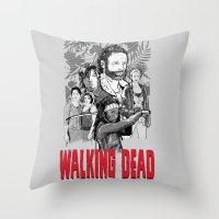 walking dead Throw Pillows featuring Walking Dead by Matt Fontaine