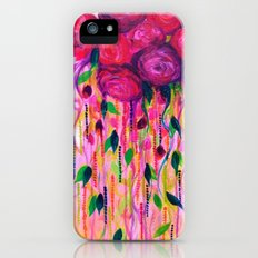 ROSES ARE RAD 2- Bold Pink Red Roses Floral Bouquet Vines, Flower Abstract Acrylic Painting Fine Art iPhone (5, 5s) Slim Case