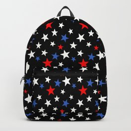 Bold Patriotic Stars In Red White and Blue on Black Backpack