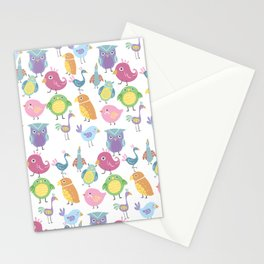 Hand drawn pink blue green orange birds illustration Stationery Cards