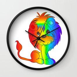 Rainbow Lion Cub 2 Wall Clock