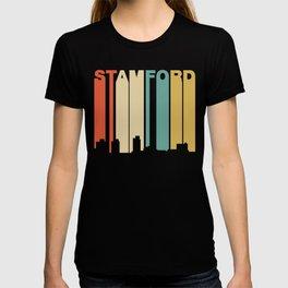 Retro 1970's Style Stamford Connecticut Skyline T-shirt