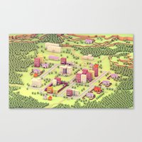 earthbound Canvas Prints featuring EarthBound - Town of Onett [Day] by Timothy J. Reynolds