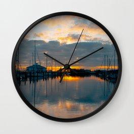 The Docks at Dawn Wall Clock