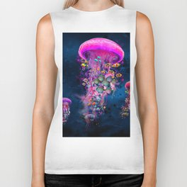 Floating Electric Jellyfish Worlds Biker Tank