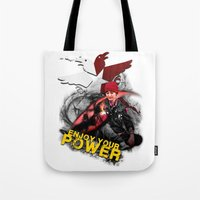 """infamous Tote Bags featuring InFamous Second Son - """"ENJOY YOUR POWER"""" by Emme Gray"""