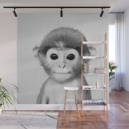 Baby Monkey - Black & White Wall Mural