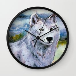 White Eyed White Wolf* Wall Clock