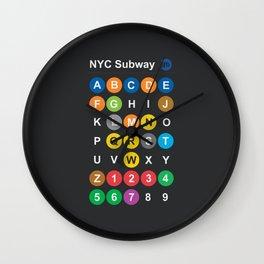 New York City subway alphabet map, NYC, lettering illustration, dark version, usa typography Wall Clock