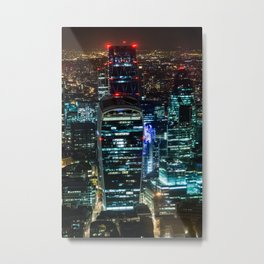 London Urban Skyline at Night Metal Print