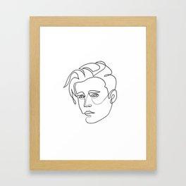 Justin - single line art Framed Art Print