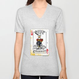 Queen of Cincinnati Bike Print Unisex V-Neck