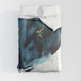 A Minimal Sapphire and Gold Abstract piece in blue white and gold by Alyssa Hamilton Art  Comforters