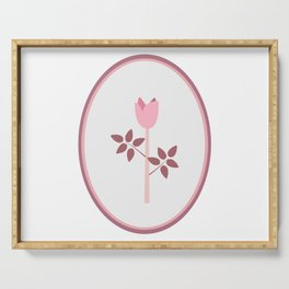 Symbol of Rose in pastel shades of pink Serving Tray