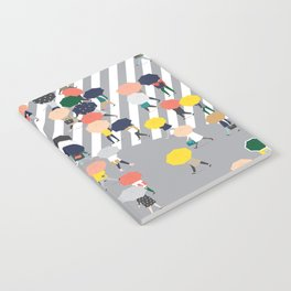 Crossing The Street on a Rainy Day - Grey Notebook