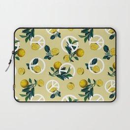 Peace Symbol and Lemon Patterns Laptop Sleeve