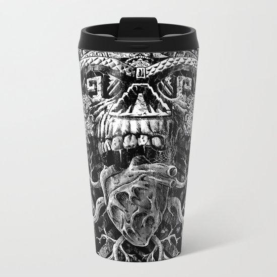 Aztec Skull Metal Travel Mug