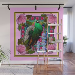 PINK ON  PINK ROSES & GREEN PEACOCK GARDEN FLORAL Wall Mural