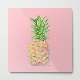 Pink Brite Pineapple Metal Print