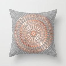 Rose Gold Gray Mandala Throw Pillow