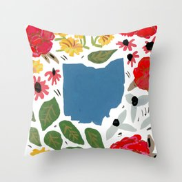 Ohio + florals Throw Pillow
