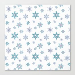 Fishnet blue snowflakes on a white background. Canvas Print