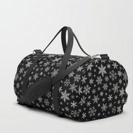 Modern Snowflake 2 -Black & Silver Grey- Duffle Bag