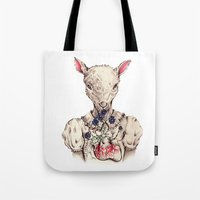 silence of the lambs Tote Bags featuring Silence of the Lambs by Marie Toh