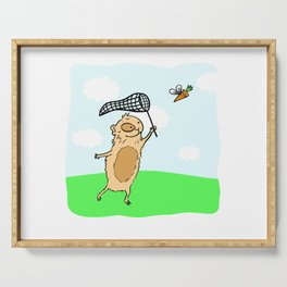 Guinea pig chasing a flying carrot Serving Tray