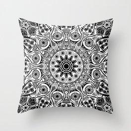 black and white mandala Throw Pillow
