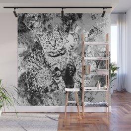 cat trio splatter watercolor black white Wall Mural