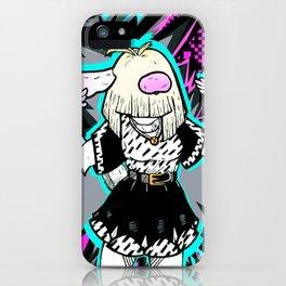 """Manic Bunny"" dancing animal art bunnies rabbits teen comic girl black and white kawaii goth emo iPhone Case"