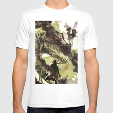 Steampunk Dragon MEDIUM White Mens Fitted Tee