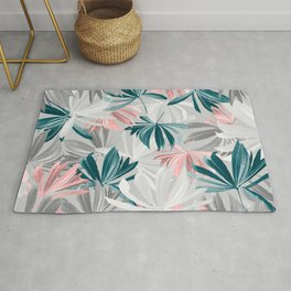 Seamless Calm Pattern Floral Leaves Rug
