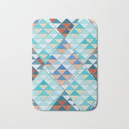 Triangle Pattern No.10 Shifting Turquoise and Orange Bath Mat