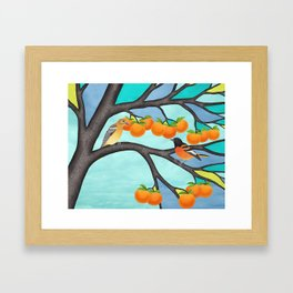 B. orioles in the stained glass tree Framed Art Print