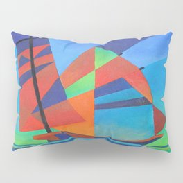 Cubist Abstract Junk Boat Against Deep Blue Sky Pillow Sham