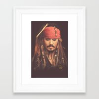 jack sparrow Framed Art Prints featuring Jack Sparrow Digital Painting by Visionary Sea