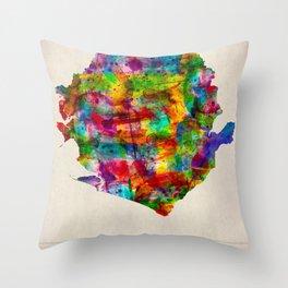 Sierra Leone Map in Watercolor Throw Pillow