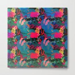 Papercut Floral Dark Metal Print