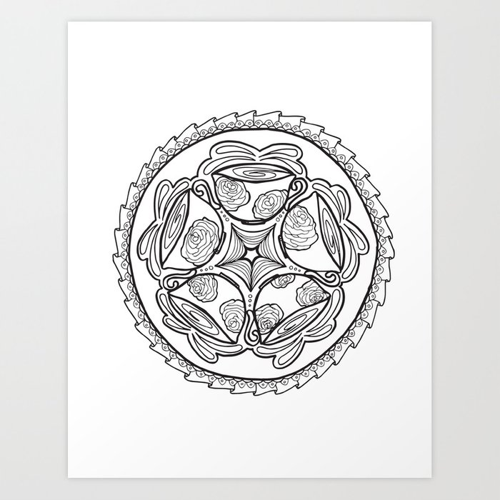 Color In Coffee Mandala Coloring Page Art Print By Momsandcrafters