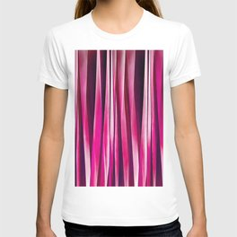 Burgundy Rose Stripy Lines Pattern T-shirt