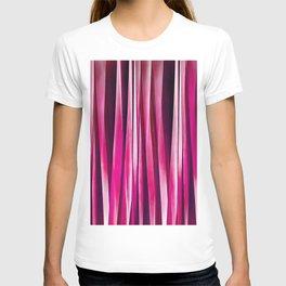 Burgundy Rose Stripy Lines Pattern T-shirt